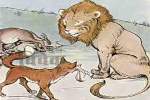 शेर लोमड़ी और भिक्षुक